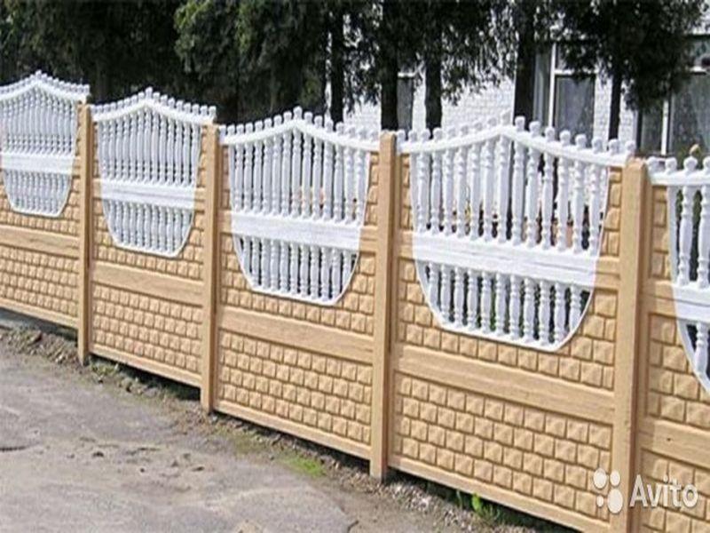 забор бетонный штакетник