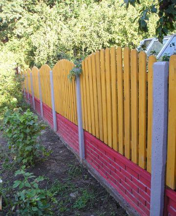 Комбинированный забор бетон и дерево
